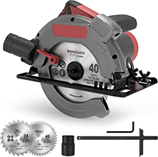 Circular Saw, 5000RPM 1500W Electric Circular Saws with Laser Guide, 2 Saw Blades (24T/190mm + 40T/190mm), Cutting Depth 6...