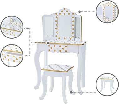 Teamson Kids Pretend Play Kids Vanity Table and Chair Vanity Set with LED Mirror Makeup Dressing Table with Drawer Fashion Po
