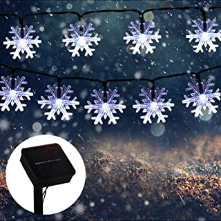 MQ Christmas Snowflake String Lights, 23 ft 50LEDs Snowflake Lights Decorations Waterproof Solar Powered 8 Modes String Li...