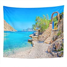 Llsty Tapestry Stairs from Sandy Beach of Amazing Bay Greece Island Kalymnos 60x80 Inches Polyester Suitable for Dormitory...