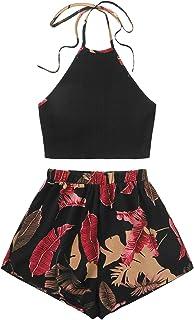 SweatyRocks Women's 2 Piece Set Halter Crop Top and Shorts Set