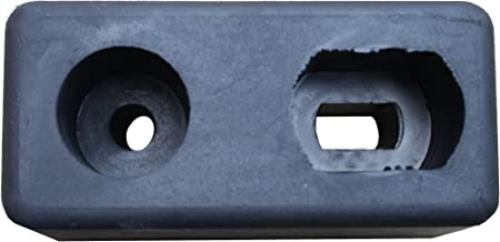 "Durable Corporation Rubber Molded Trailer Bumper, Rectangular, 2 Holes, 6"" Length, 2-7/8"" Width, 3-3/4"" Depth"