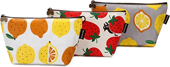 Sea Team 3pcs Waterproof Fabric Cosmetic Bags Portable Travel Toiletry Pouch Makeup Organizer Clutch Bag with Zipper (ST-CB0622B)