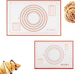 2in1 Silicone Pastry Baking Mat (40x60cm) & (26x29cm), Reayouth Non-Stick Reusable Rolling Pastry Mat with Measuring Guide...
