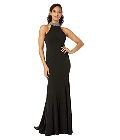 Calvin Klein Embellished Mock Neck Gown (Black) Women