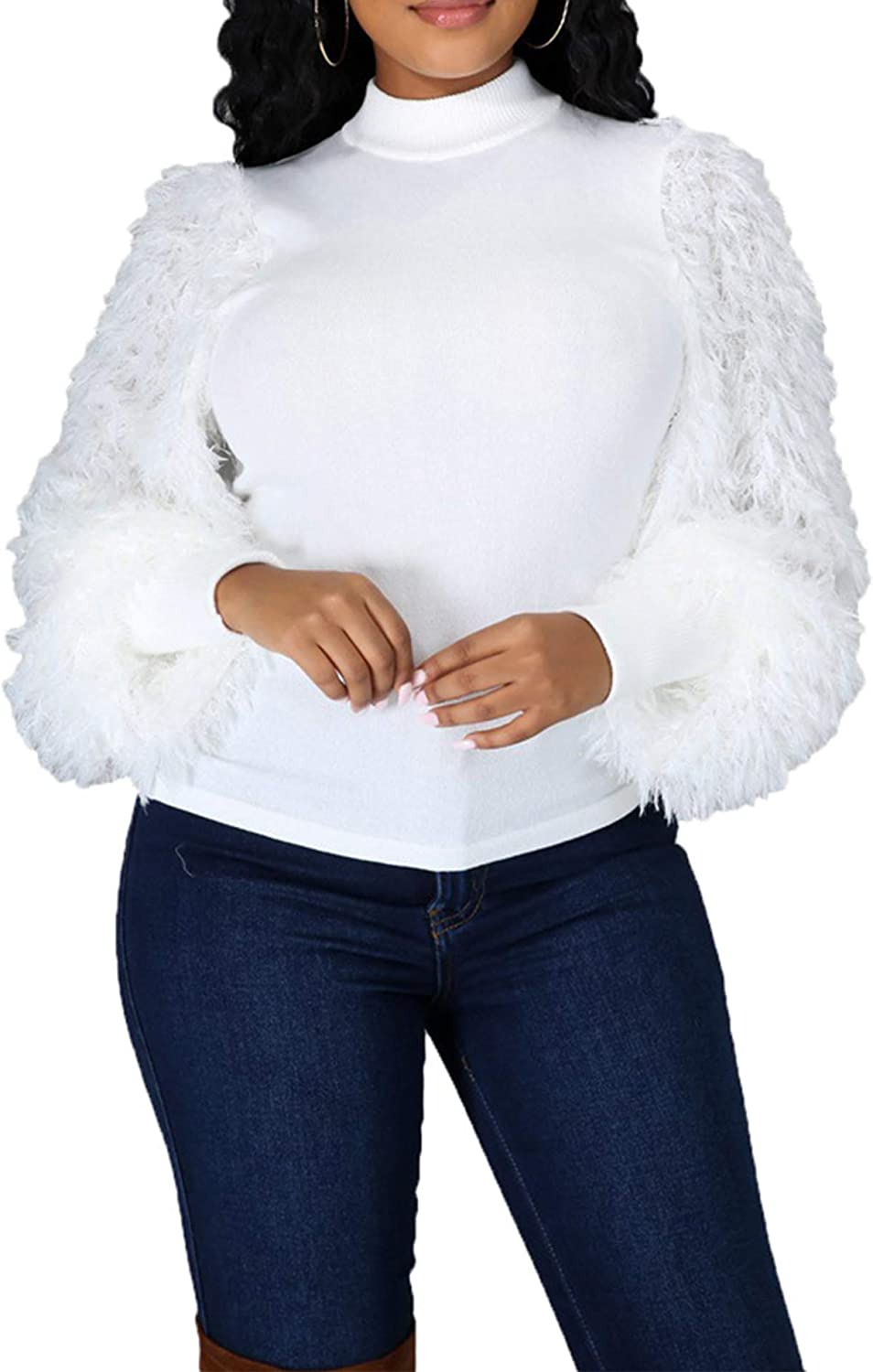 Womens Sexy Fluffy Long Sleeve Patchwork Ribbed Mock Neck Slim Fit Party Blouse T Shirts Pullover Top