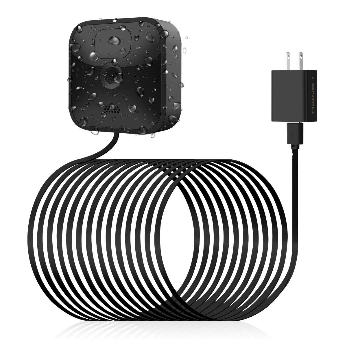 LANMU Weatherproof Power Cable Compatible with Blink Outdoor, Blink XT2/XT, Outdoor Charging Cable with Power Adapter,Continuous Power Supply(26ft)