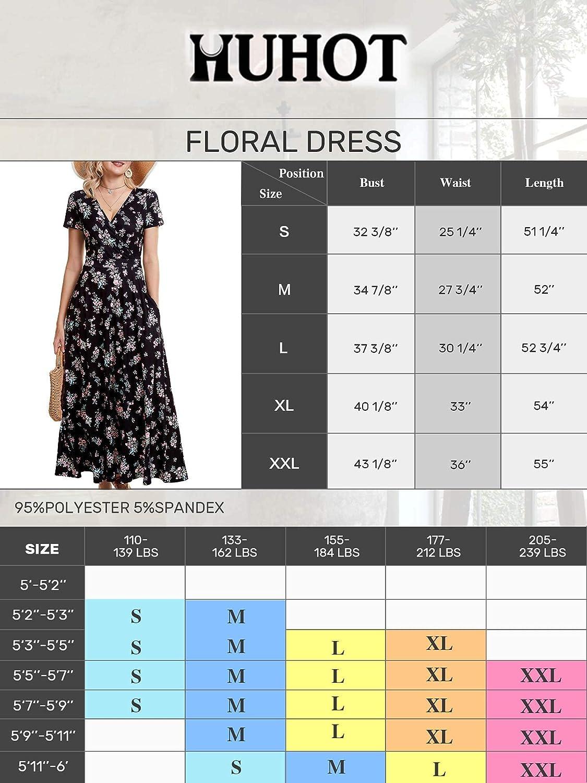 HUHOT Women's Short Sleeve Deep V Neck Dresses for Wedding Guest Summer Floral Wrap Maxi Sundresses with Pockets