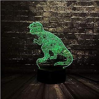 Presentación De Diapositivas En 3D Jurassic Park Tattoo Dragon Led Lámpara De Noche/Lámpara De Humor 3D / Decoración De La Habitación/Lámpara De Noche/E - Alarm Clock Base 7 Color- / B - Remote