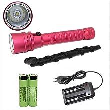 Flashlight Underwater Scubaing Flashlight 18650 Powerfule Light Xm-L2 Led Torch Waterproof Stepless Dimming Lighting led T...