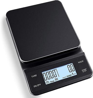 MAQKON キッチン はかり デジタルスケール ドリップ 用 デジタルはかり 0.1g単位 高精度 はかり デジタル 最大計量3000g タッチスクリーン 大サイズLED 多用途 タッチボタン 滑り止めシリコンパッド 多用途 (乾電池+ usb充電)