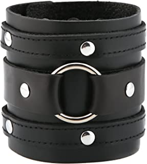 HZMAN Wide Cuff Wrap Gothic Wristband Punk Rock Biker Wide Strap Leather Bracelet