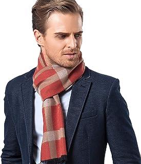 WBeibeifqwaa Men's Scarf Imitation Cashmere Fall Winter New Business Leisure Lattice Warm Weather Warm Bib Gift (Color : O...