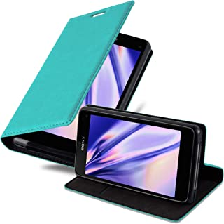 Cadorabo Book Case Works with Sony Xperia Z1 Compact in Petrol Turquoise – with Magnetic Closure, Stand Function and Card Slot – Wallet Etui Cover Pouch PU Leather Flip