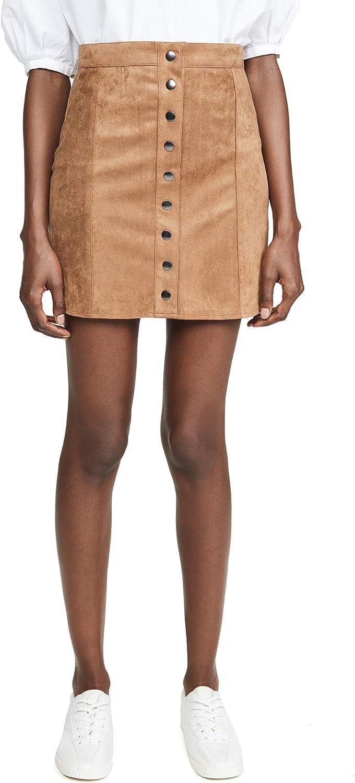 BB DAKOTA Women's Alright Button Front Faux Suede Skirt