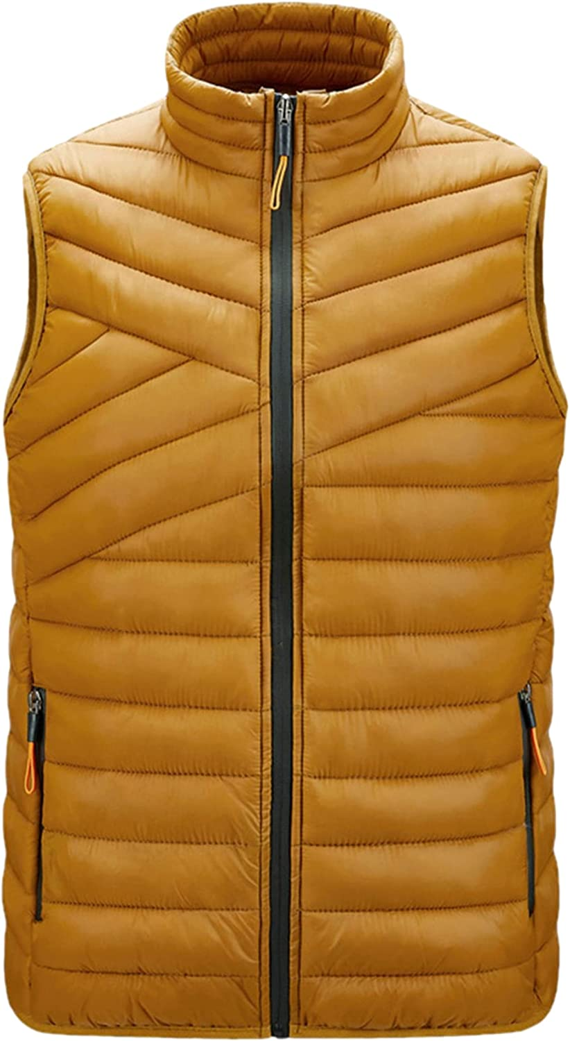 Zontroldy Men's Winter Puffer Quilted Vest Padded Stand Collar Outdoor Down Waistcoat
