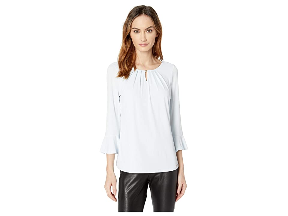 Ivanka Trump Long Bell Sleeve Bead-Neck Knit Top (Frost) Women's Clothing, White