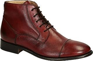 Leonardo Shoes Men's Burgundy Pony Leather Ankle Boots Shoes - Size: 10 US
