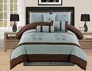 brown and aqua bedding