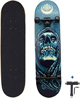 Dreambeauty 31 inch Pro Skateboard Complete,7 Layer Maple Wood Double Kick Concave Skateboards, Tricks Skateboards for Teens, Beginners, Girls, Boys, Kids, Adults