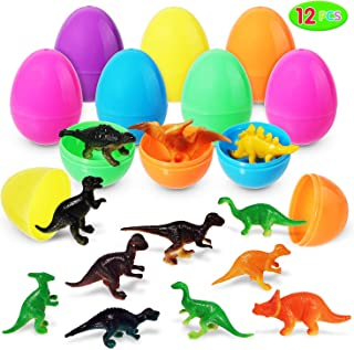 Easter Eggs Toys, 12 Pieces Dinosaur Toy Set Prefilled Easter Eggs (Toys Inside); Realistic Dinosaur Set for Easter Theme Party Favor, Easter Eggs Hunt, Basket Filler, Classroom Prize Supplies.