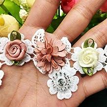 DACCU - 10 tiras de encaje 3D con flores blancas de piel y diamantes, bordadas, para manualidades, coser, artesanía, vintage, apliques