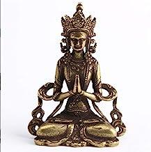 Solid Brass Guanyin Buddha Figurine 37x21x17mm Home Office Desk Ornaments Decoration Mini Statue Ornaments Household Decor...