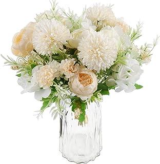 Beferr 2 Pack Fake Peony Silk Hydrangea Bouquet, Decorative Artificial Chrysanthemum Peonies Flowers, Home Office Garden W...