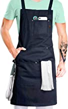 Professional Grade Chef Apron for Cooking, Kitchen, BBQ, and Grill (Black) with Towel Loop + Tool Pockets + Quick Release Buckle, Adjustable M to XXL- Mens, Womens Aprin