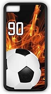 iPhone 6 Plus 6+ Case Soccer SC004Z Choice of Any Personalized Name or Number Tough Phone Case by TYD Designs in Black Plastic and Black Rubber with Team Jersey Number 90
