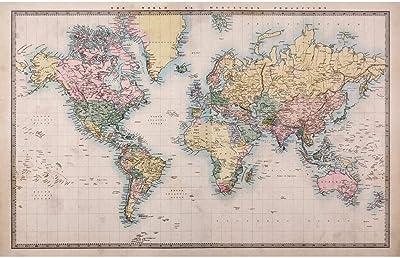 ArtzFolio World Map on Mercators Projection Circa 1860 Peel & Stick Vinyl Wall Sticker 44inch x 28inch (111.8cms x 71.1cms)