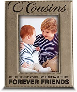 BELLA BUSTA -Cousins-Forever Friend Picture Frame-Great Gift for Best Cousin Birthday for Cousin -Engraved Leather Picture Frame (5