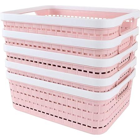 STARVA ST Lot de 5 Paniers de Rangement en Plastique, Boite Plastique de Rangement Portable pour Cuisine, Bureau, Salle de Bain, Armoire - 286mm x 220mm x 110mm, Rose, PP Tissé