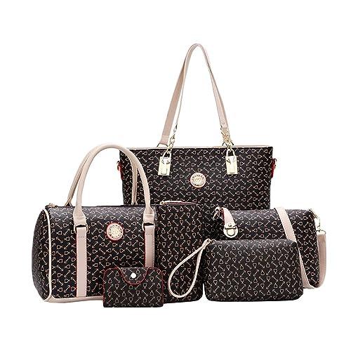 Kairuun Women 6 Set Large Capacity Handbag Shoulder Bags Tote Bag Arrow  Pattern Crossbody Wallet 4ba7b1d8c6897