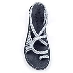 cf4747db655 Summer Braided Rope Flat Sandals Casual Vacation Beach Shoes For ...