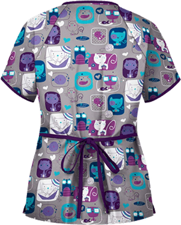 MEIbax Enfermera Tops Cuello de Pico de Manga Corta Mujer Uniforme Estampado Uniforme de Trabajo Camisetas de Manga Corta Tops de Enfermera Mujer Camisetas de Manga Corta Linda Cosplay Blusa