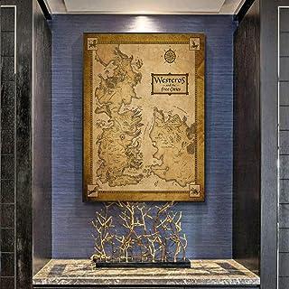 N / A Wall Art Middle Earth Vintage Map Poster Home Decor Tessuto di Stoffa di Seta per Soggiorno Camera da Letto Senza Co...