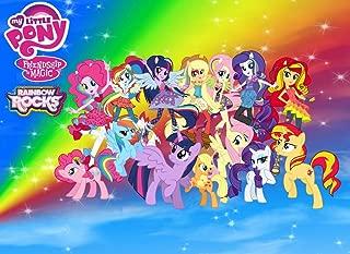 My Little Pony Friendship Magic Rainbow Rocks Edible Cake Topper Frosting 1/4 Sheet Birthday Party