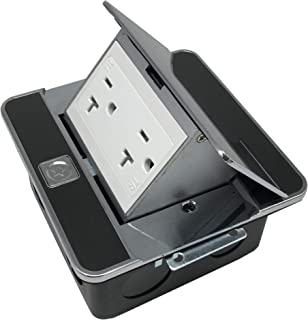 Pop Up Floor Box Countertop Box w/20A with Duplex Receptacle - Stainless Steel Black