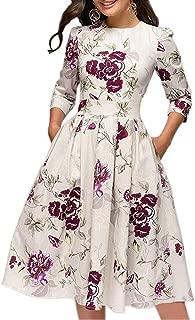 Women's Floral Vintage Dress Elegant Midi Evening Dress 3/4 Sleeves
