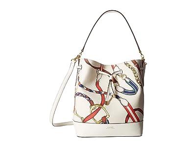 LAUREN Ralph Lauren Dryden Debby Printed Canvas Medium Drawstring (Vanilla Sig Belting Print) Handbags