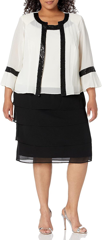 Le Bos Women's Pleated Bell Sleeve Jacket Dress