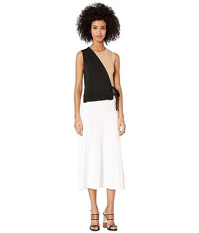 YIGAL AZROUEL Color Blocked Wrap Dress (Jet/Optic Multi) Women