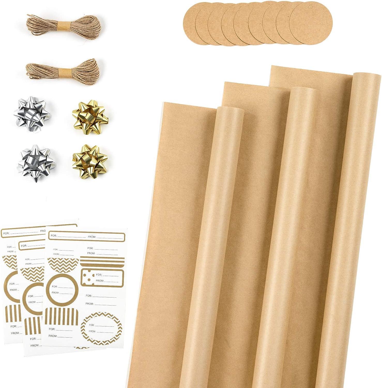 RUSPEPA Rollos De Papel De Envolver Con Etiquetas, Pegatinas Y Cuerda De Yute - 43cm X 3m Por Rollo, Total De 3 Rollos, Marrón Sólido