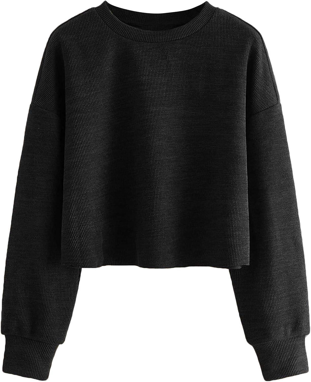 Floerns Women's Casual Solid Long Sleeve Pullover Crop Top Sweatshirt