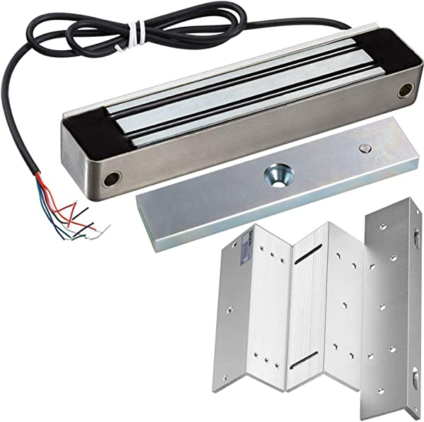 UHPPOTE 600Lb Holding Force Outdoor Electric Magnetic Lock With Mount Bracket For Inswinging Door