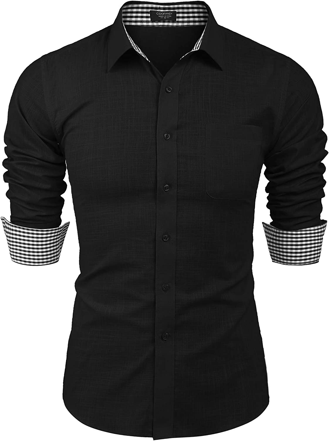 COOFANDY Men's Long-Sleeve Cotton Linen Fit Regular Deluxe Solid Recommended Shirt