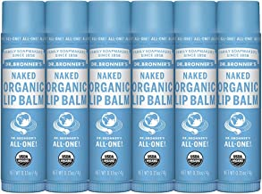 Dr. Bronner's - Organic Lip Balm (Naked, .15 ounce, 6-Pack) - Unscented, Made with Organic Beeswax and Avocado Oil, For Dry Lips, Hands, Chin or Cheeks, Jojoba Oil for Added Moisture, Soothing