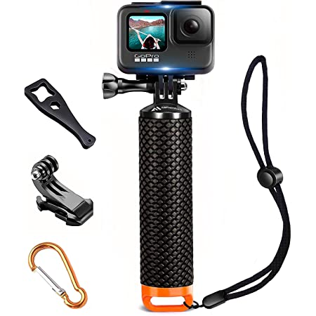 Waterproof Floating Hand Grip Compatible with GoPro Hero 9 8 7 6 5 4 3 3+ 2 1 Session Black Silver Camera Handler & Handle Mount Accessories Kit for Water Sport and Action Cameras (Orange)