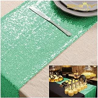 12''*72'' Mint Green Sequin Table Runner Sparkly Metallic Sequin Runner for Wedding Party Dinner Reception(Mint Green #50)